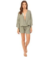 Vince Camuto Milos Solids Romper W Draw String Waist Tie Cover Up Sage Women's Jumpsuit And Rompers One Piece Green