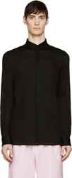 Helmut Lang Black Cotton Piqu Spring Shirt