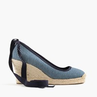 J.Crew Seville Canvas Espadrille Wedges With Ankle Wrap Indigo White