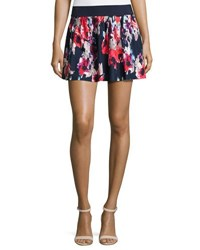 Kate Spade Floral Print Pleated Coverup Skirt Blue Pattern