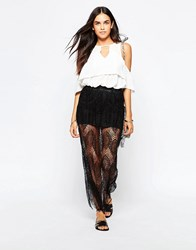 Goldie Lost Lead Lace Maxi Skirt Black