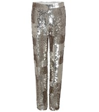 Chloe Sequinned Trousers Silver