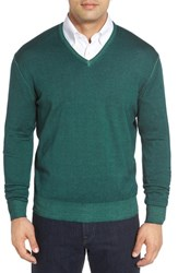 Robert Talbott Men's Merino Wool V Neck Sweater Emerald