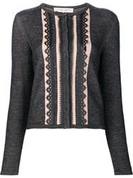 Carolina Herrera 'Leather Trim Knit' Cardigan Black
