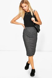 Boohoo Ribbed Bodycon Midi Skirt Grey