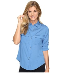 Ivanka Trump Double Button Roll Sleeve Top Artic Women's Clothing Blue