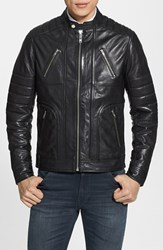 Lamarque Men's Trim Fit Leather Biker Jacket