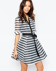 Yumi Skater Shirt Dress In Stripe White