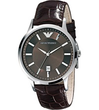 Emporio Armani Ar2413 Renato Stainless Steel And Leather Watch Brown