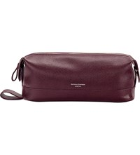 Aspinal Of London Classic Leather Wash Bag Burgundy