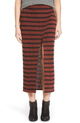 Lily White Stripe Split Midi Skirt Brown