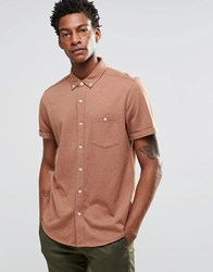 Asos Jersey Shirt In Camel With Short Sleeves In Regular Fit Camel