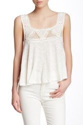 Poof Lace Trim Open Back Tank White