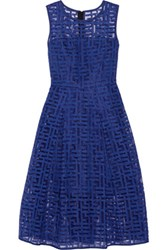 Milly Pleated Embroidered Tulle Midi Dress Bright Blue
