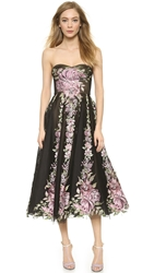 Marchesa Tulle Cocktail Dress With Full Skirt Black