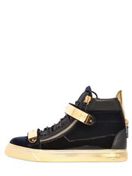 Giuseppe Zanotti Bangle Velvet And Patent High Top Sneakers