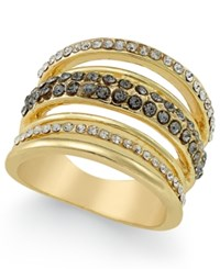Inc International Concepts Gold Tone Three Row Crystal Statement Ring Only At Macy's