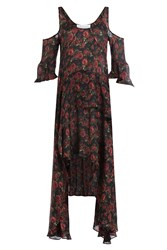 Iro Printed Silk Dress With Cut Out Shoulders Florals