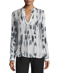 Vince Cascade Print Split Neck Silk Top Off White Black