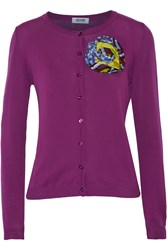 Moschino Cheap And Chic Brooch Embellished Cotton Cardigan Purple