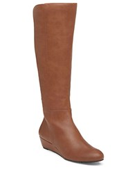 Jessica Simpson Bafford Faux Leather And Elastic Knee High Wedge Boots Bourbon