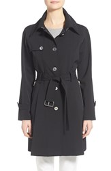 Women's Trina Turk 'Lilian' Pleated Single Breasted Trench Coat Black