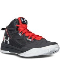 Under Armour Men's Jet Mid Basketball Sneakers From Finish Line Charcoal Anthem Red White