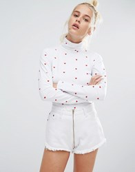 Lazy Oaf High Neck Long Sleeve Top With Tiny Hearts White