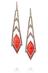Stephen Webster Lady Stardust Crystal Haze 18 Karat White Gold Coral And Sapphire Earrings