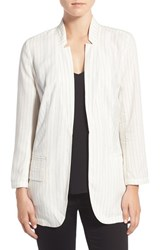 Trouve Women's Trouve Pinstripe Split Back Blazer