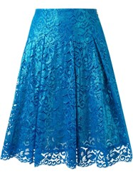 Dress Camp Lace Applique Pleated Skirt Blue