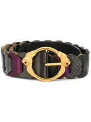 Roberto Cavalli Lion Gold Tone Buckle Belt Multicolour