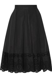 Marc Jacobs Broderie Anglaise Trimmed Stretch Cotton Poplin Skirt Black