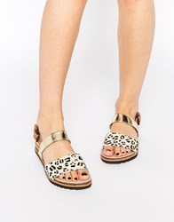 Ravel Strap Leather Flat Sandals Multi