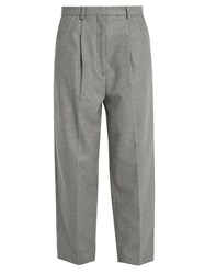 Acne Studios Milli High Rise Wool Blend Trousers Grey