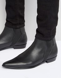 Religion Leather Chelsea Boots Black