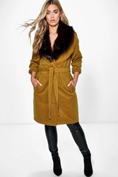 Boohoo Lola Robe Coat With Faux Fur Shawl Collar Olive