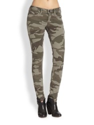 True Religion Casey Low Rise Skinny Jeans Olive Camo