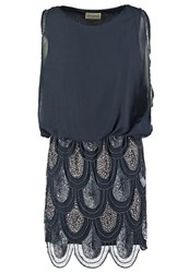 Lace And Beads Sharon Angela Cocktail Dress Party Dress Navy Dark Blue