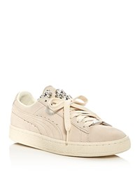 Puma Basket Jewelled Lace Up Sneakers Cream Ivory