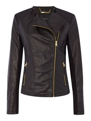 Andrew Marc New York Pu Jacket With Asymetric Zip Black