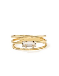 Bing Bang Triple Band Swarovski Crystal Baguette Ring Gold