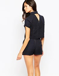 Harlyn Polka Dot Short Sleeve Crop Top With Open V Back Navy