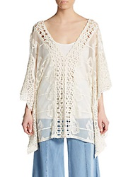 Xcvi Serafina Embroidered Semi Sheer Tunic Natural