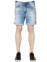 Cycle Washed Cotton Denim Shorts Blue
