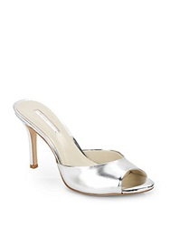 Bcbgeneration Disco Metallic Faux Patent Leather Mules Silver