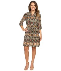 Tahari By Arthur S. Levine Petite Aztec Printed Shirtdress Red Loden Navy Women's Dress Yellow
