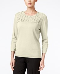 Alfred Dunner Sequined Lace Yoke Sweater Ivory