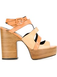 Pierre Hardy Chunky Heel Strappy Sandals Nude And Neutrals
