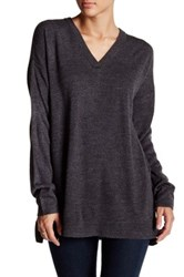 Sweet Romeo Oversized V Neck Pullover Sweater Black